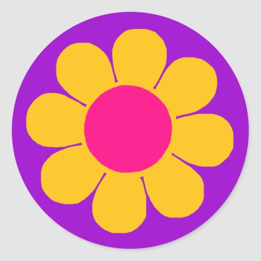Flower power adhésifs ronds
