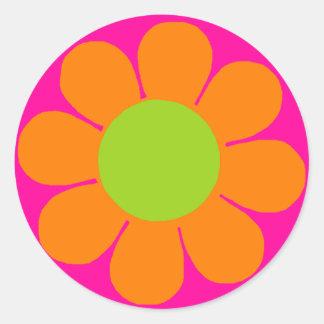 Flower power autocollant rond