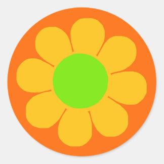 Flower power autocollants ronds