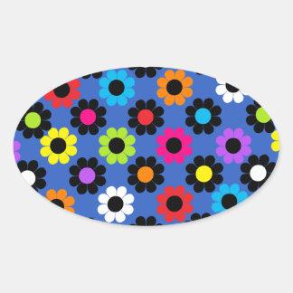 Flower power sticker ovale