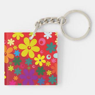 Flower power sur le rouge porte-clé carré en acrylique double face