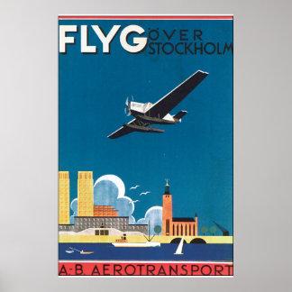 FlyG au-dessus d'affiche vintage de voyage de Posters