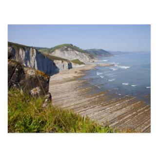 Flysch dans la côte de Zumaia, Guipuzcoa, Basque Carte Postale