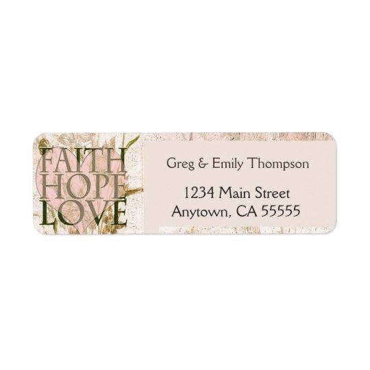 Foi, espoir et amour étiquette d'adresse retour
