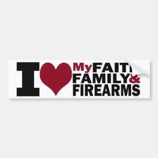 Foi, famille et adhésif pour pare-chocs d'armes à  autocollant pour voiture