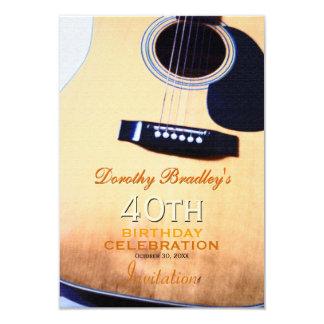 Folk Guitar 40th Birthday Celebration Custom Invitation