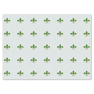 fond clair avec Green Fleur de Lis Papier Mousseline
