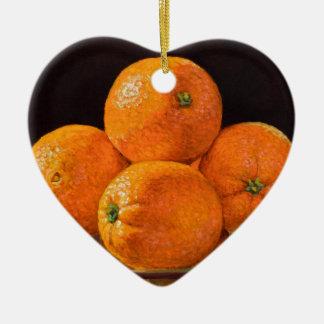 Fonderie orange ornement cœur en céramique
