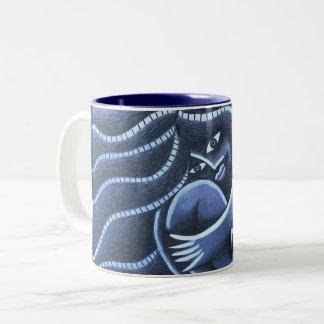 Fondo Azul de colorido de sobre de Chica Tasse 2 Couleurs
