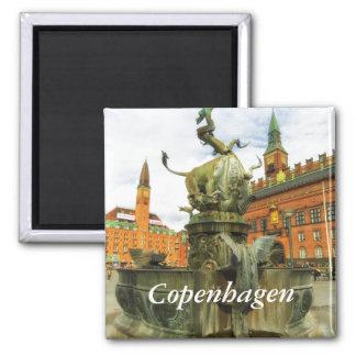 Fontaine de dragon à Copenhague Magnet Carré