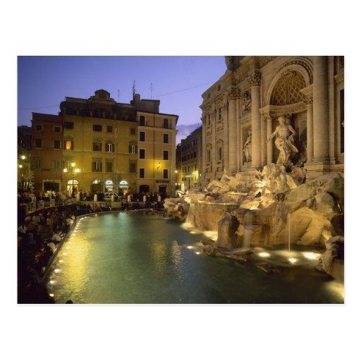 Fontaine de TREVI la nuit, Rome, Latium, Italie Cartes Postales