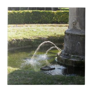 Fontaine d'eau antique en parc public petit carreau carré
