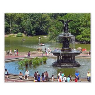 Fontaine et lac dans le Central Park, New York Impression Photo