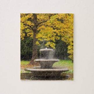 Fontaine par un arbre dans la chute, Allemagne Puzzle