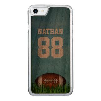 Football américain sur le bois d'herbe et de ciel coque iphone 7 en bois