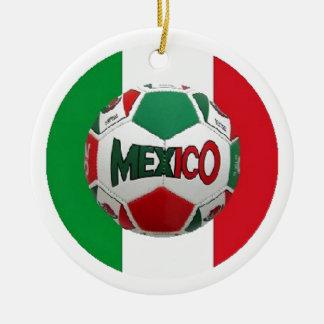 FOOTBALL MEXIQUE ORNEMENT ROND EN CÉRAMIQUE