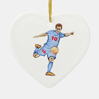 Football player - Joueur de football Ornement Cœur En Céramique