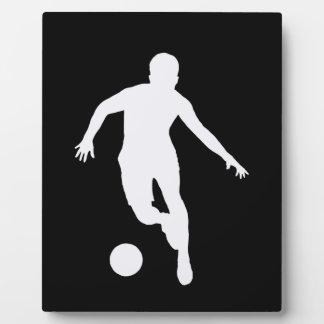 FOOTBALLER (silhouette blanche) Plaque D'affichage