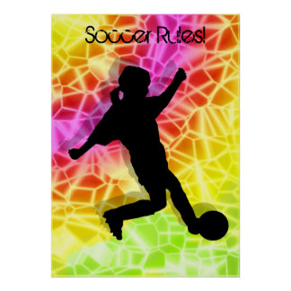 Footballeur et mosaïque fluorescente posters