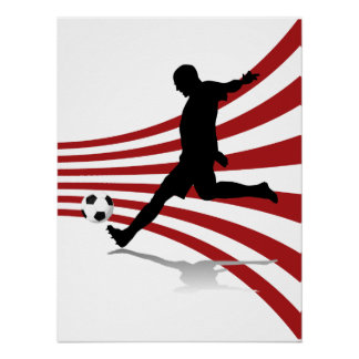 Footballeur rouge et blanc poster