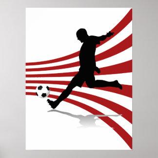 Footballeur rouge et blanc posters
