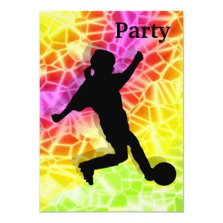 Footballeur sur l'invitation fluorescent de carton d'invitation  12,7 cm x 17,78 cm
