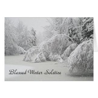 Forêt bénie d'hiver de solstice d'hiver carte de vœux