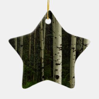 Forêt blanche ornement étoile en céramique