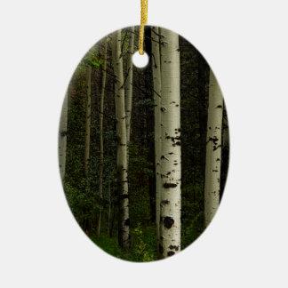 Forêt blanche ornement ovale en céramique