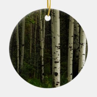 Forêt blanche ornement rond en céramique