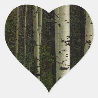 Forêt blanche sticker cœur