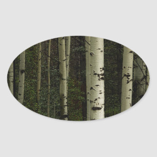 Forêt blanche sticker ovale
