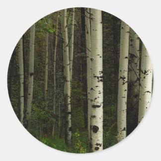 Forêt blanche sticker rond