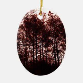 Forêt cramoisie surréaliste ornement ovale en céramique
