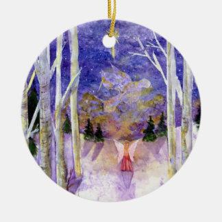 Forêt de bouleau d'ange de colombe ornement rond en céramique