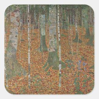 Forêt de bouleau par Gustav Klimt, art vintage Sticker Carré