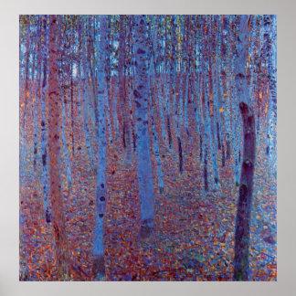 Forêt de hêtre par Gustav Klimt, art vintage Posters