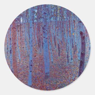 Forêt de hêtre par Gustav Klimt, art vintage Sticker Rond