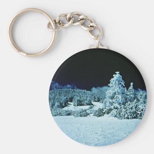 Forêt d'hiver porte-clé
