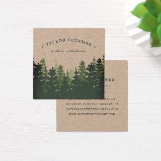 Forêt | Papier d'emballage de pin Carte De Visite Carré