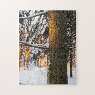 Forêt pendant l'hiver puzzle avec photo