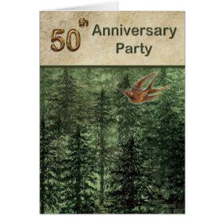 Forêt pour la fête d'anniversaire 50 d'arbres carte de vœux