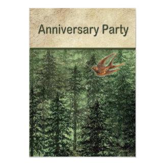Forêt pour la fête d'anniversaire d'arbres carton d'invitation  12,7 cm x 17,78 cm