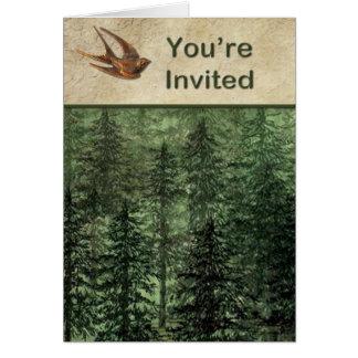 Forêt pour l'invitation d'arbres carte de vœux