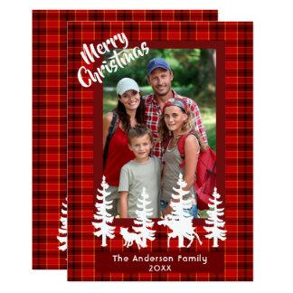 Forêt rouge de plaid de carte photo de famille de