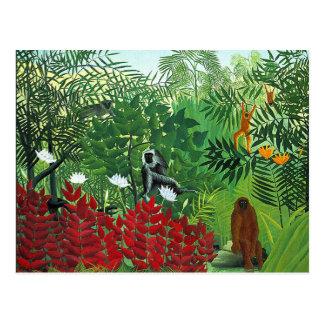 Forêt tropicale avec des singes carte postale