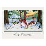 Forêt vintage de cerfs communs de Noël Carte Postale