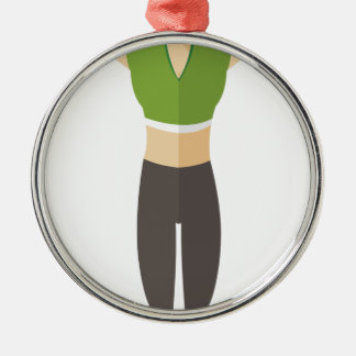 Formation de femme de forme physique ornement rond argenté