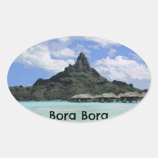 Formation rêveuse d'atoll de Bora Bora Tahiti de Sticker Ovale