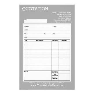 Forme - citation ou facture d'affaires - prospectus 14 cm x 21,6 cm